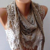 Stone Color Lace and Elegance Shawl / Scarf with by SwedishShop