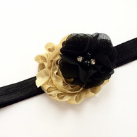 Black and Gold Flower Headband for Girls - Headband Photo Prop -Black Flower Head Band -  Headband Photo Prop - Baby Girl Headband -