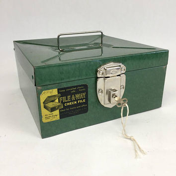 File A Way Check File, Office Storage, Metal Storage Box, Vintage Office Supplies, Green Metal File Box with Key, Mid Century Office