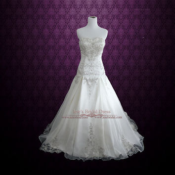 Sweetheart A-line Wedding Dress with Embroideries | Joanne
