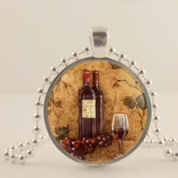 "Wine bottle, ivy and glass, 1"" glass and metal Pendant necklace Jewelry."