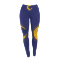 "BarmalisiRTB ""Melting Moon2"" Yellow Digital Yoga Leggings"