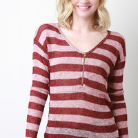 Loose Knit Striped V-Neck Top
