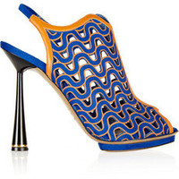 Nicholas Kirkwood Laser-cut suede and leather slingbacks – 65% at THE OUTNET.COM