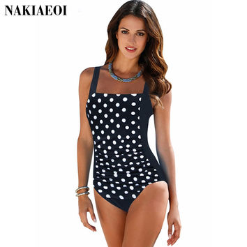 Plus Size Swimwear Female Polka Dot One Piece Swimsuit Women Vintage Bathing Suit One-Piece Suit 2016 Retro Large Size Swimsuits
