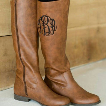 Monogrammed Boots available in brown or black. Great Gift - SALE