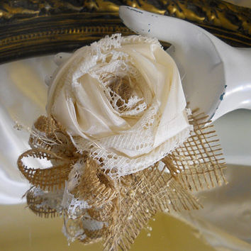 Burlap Corsage, handmade of silk, lace, and natural burlap. Available in Ivory, White or Black. Select color when purchasing.