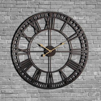 Vintage Wall Clock 60cm Large Clock Watch Wrought Metal Industrial Iron Clock Watch