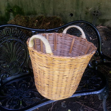 Extra Large Vintage Clothes Basket Gathering Basket Natural Wicker