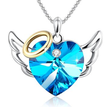 "Birthday Gifts""Love Angel ""Blue Heart Pendant Necklace Valentines Wedding Anniversary Jewelry for Daughter Wife Mom with Swarovski Crystals"