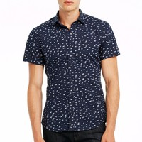 Short Sleeve Bird Print Shirt - Shirts - Mens - Armani Exchange