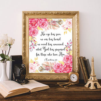Bible quote Printable Bible verse print Scripture No eye has seen 1 Corinthians 2:9 Digital Christian Wall Art 8x10 Watercolor SALE