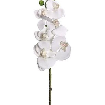 """Artificial Phalaenopsis Orchid Spray in White - 33.5"""" Tall"""