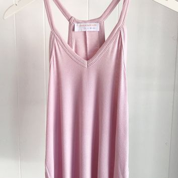Basic Ribbed V-neck Tank- Lavender
