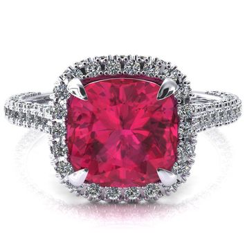 Taniya Cushion Ruby 4 Claw Prong Halo 3/4 Eternity 3 Sided Diamond Shank Cathedral Engagement Ring