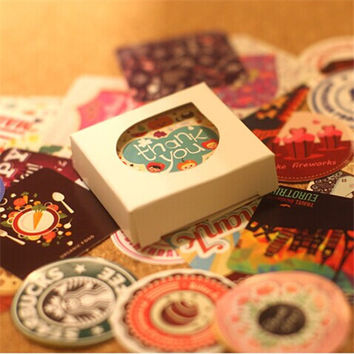 38 pcs set Creative Vintage Themes Stickers Adhesive Stickers DIY Decoration Stickers 2015