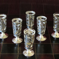 6 Sterling Silver Filigree Overlay Cordial Tequila Shot Glasses With Glass Inserts Made In Mexico