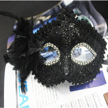 Fashion Black Women's Lace Party Ball Masquerade Fancy Dress Mask With Flower (Size: 19cm by 10cm, Color: Black) = 1946919492