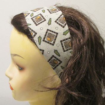 Log Cabin Reversible Wide Fabric Headband Wrap Around Headband