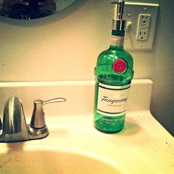 Tanqueray Gin Repurposed Bottle Soap Dispenser