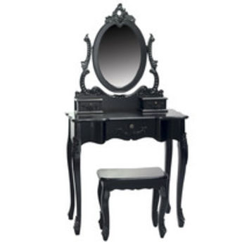 Toulouse Black Dressing Table and Stool | Dunelm