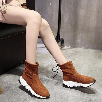 Balenciaga Speed HIGH Scrub Ankle Boots Sport Shoes Camel Color