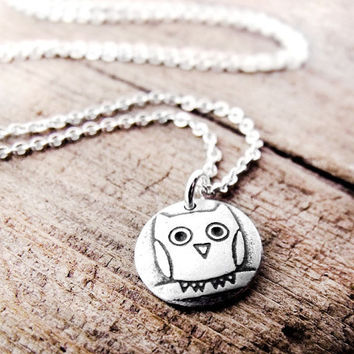 Owl necklace  tiny silver pendant owl jewelry by lulubugjewelry