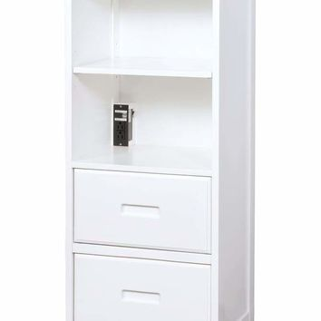 Solid Wood Book Shelf with Spacious Storage And Built In USB Plug, White -CM7844WH-BC