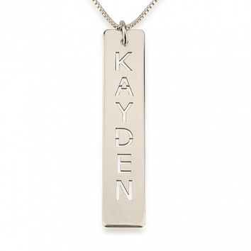 Sterling Silver .925 Vertical Bar Personalized Name Plate Necklace , Sterling Silver .925 Custom Engraved Bar Name Plate