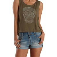 Olive Caged Side Skull Graphic Tank Top by Charlotte Russe