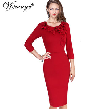 Vfemage Womens Autumn Elegant Vintage 3D Flowers Casual Party Special Occasion Mother of Bride Bodycon Fitted Pencil Dress 4125
