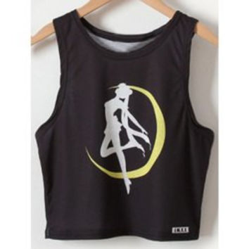 Chic Women's Sailor Moon Print Tank Top