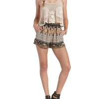 Cuffed Paisley Print High-Waisted Shorts