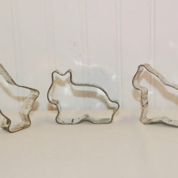 Vintage Advertising Davis Baking Powder Metal Cookie Cutters (c. 1926) Goose, Cat, Bunny, Vintage Mail Order, Animal Cookie Cutter, Baking