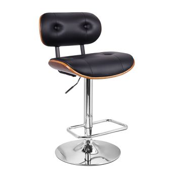 Adeco Black Leatherette and Walnut-Color Wood Adjustable Barstool Chair, Raised Button Tufted Back Chrome Finish Pedestal Base