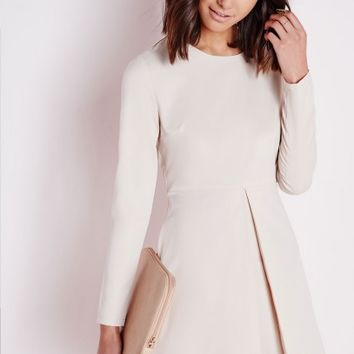 Missguided - Pleat Front Skater Dress Nude