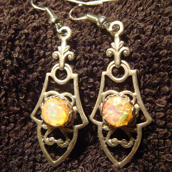 Victorian Style Fire Opal Earrings in Antique Silver (482)