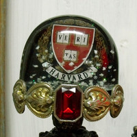 Vintage HARVARD University snow globe shabby chic Harvard Crest snow globe rhinestones snow dome home decor