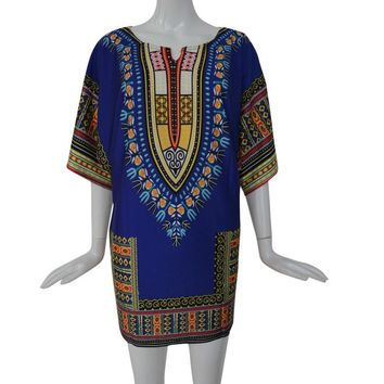 Above Knee Print  Dress Summer Traditional African   Straight Print Dresses