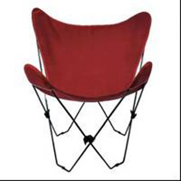 Algoma Net Company 4053-116 Black Butterfly Chair with Burgundy Cover