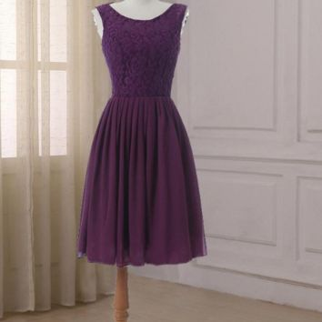Bridesmaid Dress Cap Sleeve Chiffon A-line Sexy Scoop Neck Wedding Party Prom Gown Zipper up back