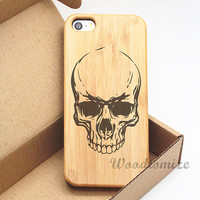Wooden case for iPhone 5 5c 5s wood case, iPhone 4 4s wood case, FREE screen protector, fancy funky black skull print on wood case - A41