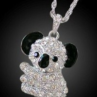 8GB Crystal Koala Bear USB Flash Drive with necklace(Silver)