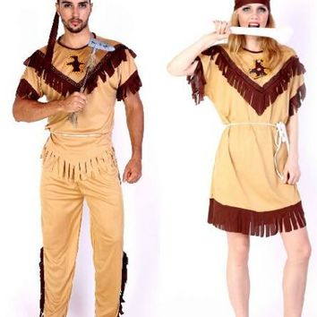 Free shipping role-play adult man women Halloween Cosplay Clothing 3 pcs set indian Costume carnival birthday gift party