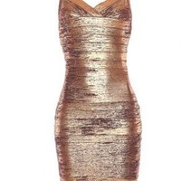 Gold Sexy Dress - Bqueen Thin Strap Copper Foil | UsTrendy