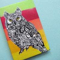 Horned Owl Art Giclee - Wrapped Canvas Print