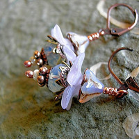 Sparkly Flower Drop Earrings, Whisper Pink & Opal White, Copper Beads, Gift for Her