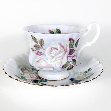 BLACK FRIDAY SALE Vintage Royal Albert Teacup and Saucer, Light Pink & White Floral, Bone China Made in England, Wedding Shower Gift