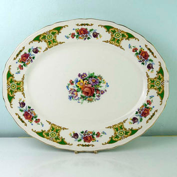 Vintage Booths and Colcloughs Ltd Royal Swan Mount Royal S9033 Made in England Floral Pattern 383 Serving Platter. Circa 1948-1954