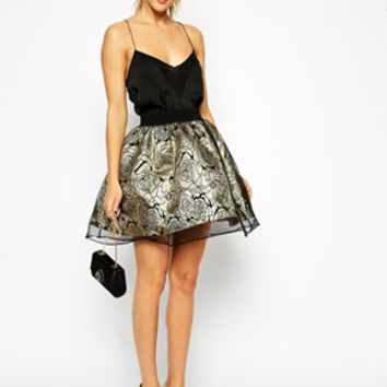 ASOS Skater Skirt in Metallic Floral with Organza Overlay